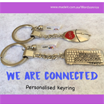 WE ARE CONNECTED personalised computer keyring set
