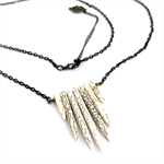 White Howlite Spike Pendant on Long Bronze Chain