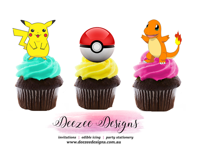 Pokemon Edible Wafer Stand Up Cupcake Toppers Set Of