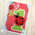 Red Ladybug First Birthday greeting card, I am one, first birthday party.