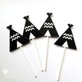 Teepee Cupcake Toppers in Black and White. Wild one, Baby shower, First birthday