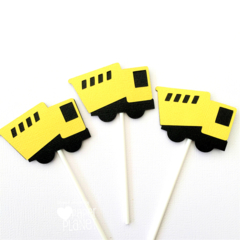 Construction Truck Cupcake Toppers in Black & Yellow. Dump truck, birthday party