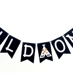Wild One Black & White Teepee banner. Monochrome bunting, garland. Photo Prop
