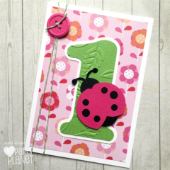 Pink Ladybug First Birthday greeting card, I am one, first birthday party.