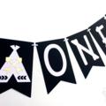 Wild One Black & White Teepee banner. Monochrome bunting, garland. Photo Prop