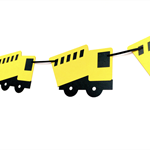 Construction truck banner. Yellow & Black. Bunting, birthday party, baby shower.