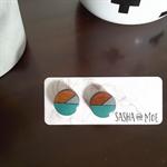 TASMANIAN MYRTLE EARRINGS - Aqua & Grey