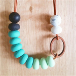 TASMANIAN MYRTLE & POLYMER CLAY NECKLACE - Aquas & Loop
