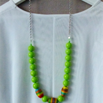 SALE: Bright green beaded necklace