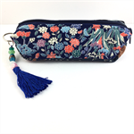 Kimono fabric makeup bag /pencil case with beaded tassel- indigo ikat & floral