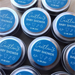 20 x Personalised Baby Shower Favours - Petite Soy Candle Tins