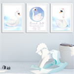 'SWAN' Personalised Birth Stat Print and matching art prints. SET OF 3