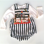 Baby romper toddler romper black and white stripe and zoo animals 12-18m