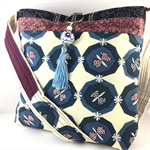Handcrafted kimono fabric handbag-  with beaded tassel- purple and blue