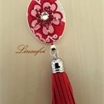 Tassel Brooch - Red Flower - Fabric - Faux Leather - Bright Silver tone - BR030