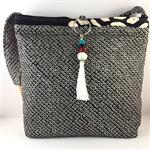 Handcrafted kimono fabric handbag with beaded tassel- black and white shibori