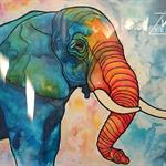 """"""" Colourful  Elephant """" ~ ORIGINAL ART 40 x 50 cm"""