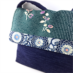 Handcrafted kimono fabric messenger bag- Indigo and teal