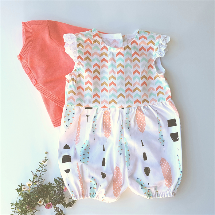 3ceb03f5340b Baby girls romper toddler romper playsuit pink gold feather and arrow with  lace