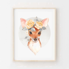 Florence the Fawn - Children's art. Watercolour baby deer with flower crown. A4