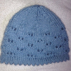 Baby hat/beanie blue picot edging