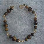 African Roar Tigers Eye & Gold Link Bracelet