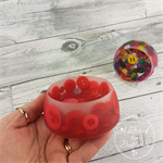 Button Bowl - Resin & Buttons - RED