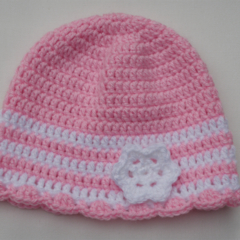 Crocheted baby girl hat, beanie - pink with white trim size 3-6 months
