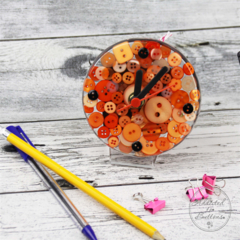 Tick Tock - Orange Button Desktop Clock -  Resin Buttons Clock - silent motion