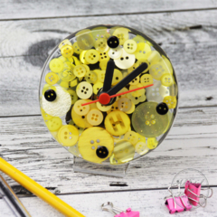 Tick Tock - Yellow Button Desktop Clock -  Resin Buttons Clock - silent motion