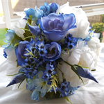 Blue Spring Bridal Bouquet with Silk Peonies & Blue Flowers - Wedding Flowers