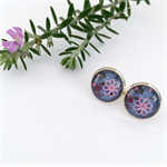 Purple and Pink Glass Stud Earrings