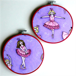 Beaded Ballerina hoop art pair