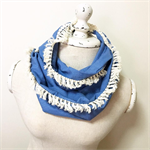 Ladies Infinity Scarf - {Chambray/Ivory Tassel}