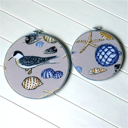 """By The Sea"" hoop art pair"