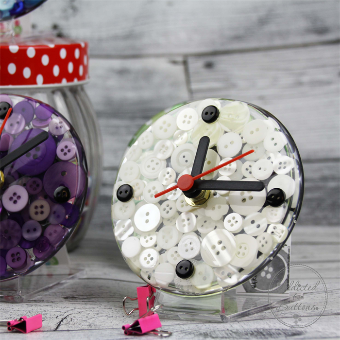 Tick Tock - White Button Desktop Clock -  Resin Buttons Clock - silent motion