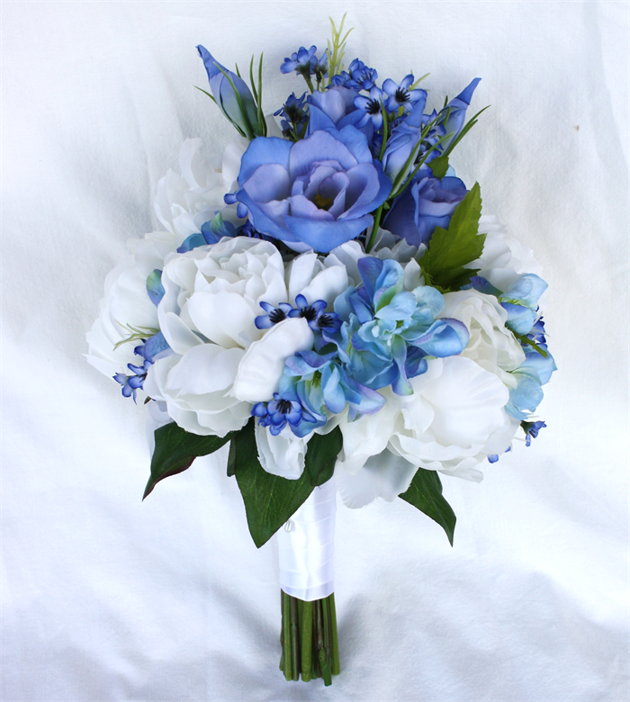 Blue Wedding Flowers: Blue Spring Bridal Bouquet With Silk Peonies & Blue