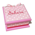 Sweet Pink with White Spots Keepsake Trinket Treasure Jewellery Wooden MemoryBox