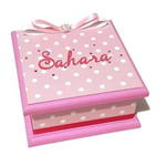 Sweet Pink with White Spots Keepsake Trinket Treasure Jewellery Wooden MemoryBox