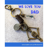 WE LOVE YOU DAD bow and arrow keyring