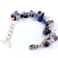 Crystal and glass floral bracelet in blue, lilac, silver with freshwater pearls