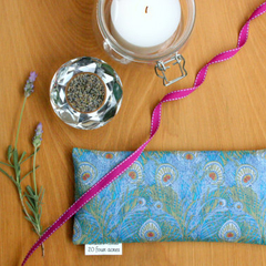 Eye Pillow, Lavender and Flax Seed, Peacock Feather Scented Gift Relaxation Yoga