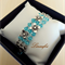 Half Bangle - Blue Bracelet - 3 Strands - Swarovski - Chain - Adjustable - B031