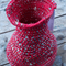 jar: crocheted form made from newspaper yarn and vintage cotton
