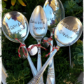 Hand stamped vintage silver spoon.. Choose your own personal text...