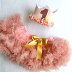 Girls Rose Gold First Birthday Flower Crown & Pettiskirt