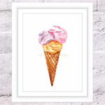 Ice Cream Print, A4 Size Summer Print, Kitchen Print