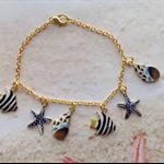 Nautical Gold Tone enamel Charms Beach Wear Bracelet Jewellery