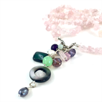 Rose Quartz Long Necklace with detachable semi precious stone tassel