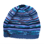 Mens Unisex Knitted 'Winter Blues' 100% Wool Beanie.